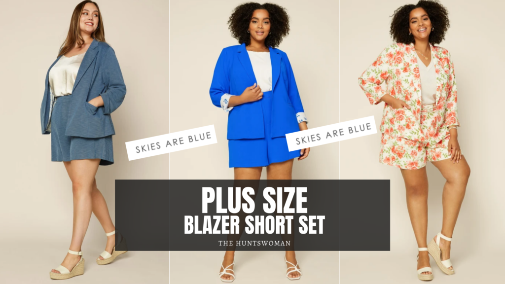 Plus Size Blazer Short Set options from Skies Are Blue in up to a 3X.  cobalt blue, dust blue and floral!
