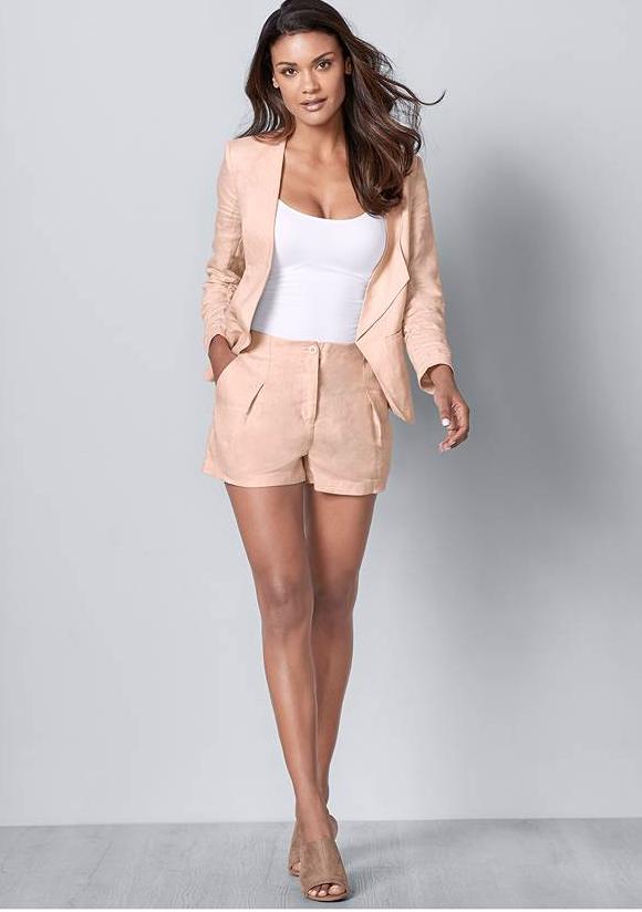 Plus Size Blazer Short Set in tan and white