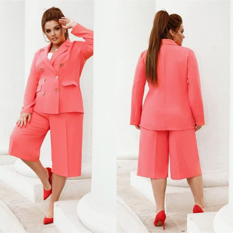 Plus Size Blazer Short Set in bright peach