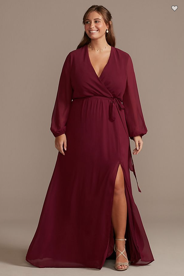 Plus Size Bridesmaids Dress in burgundy