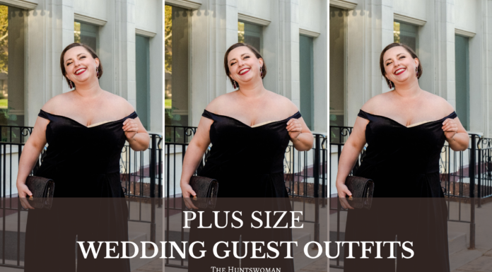 plus size fall wedding guest outfit