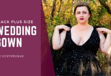 black plus size wedding gown
